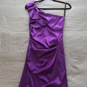 B. Darlin Purple Satin One-Shoulder Cocktail Dress